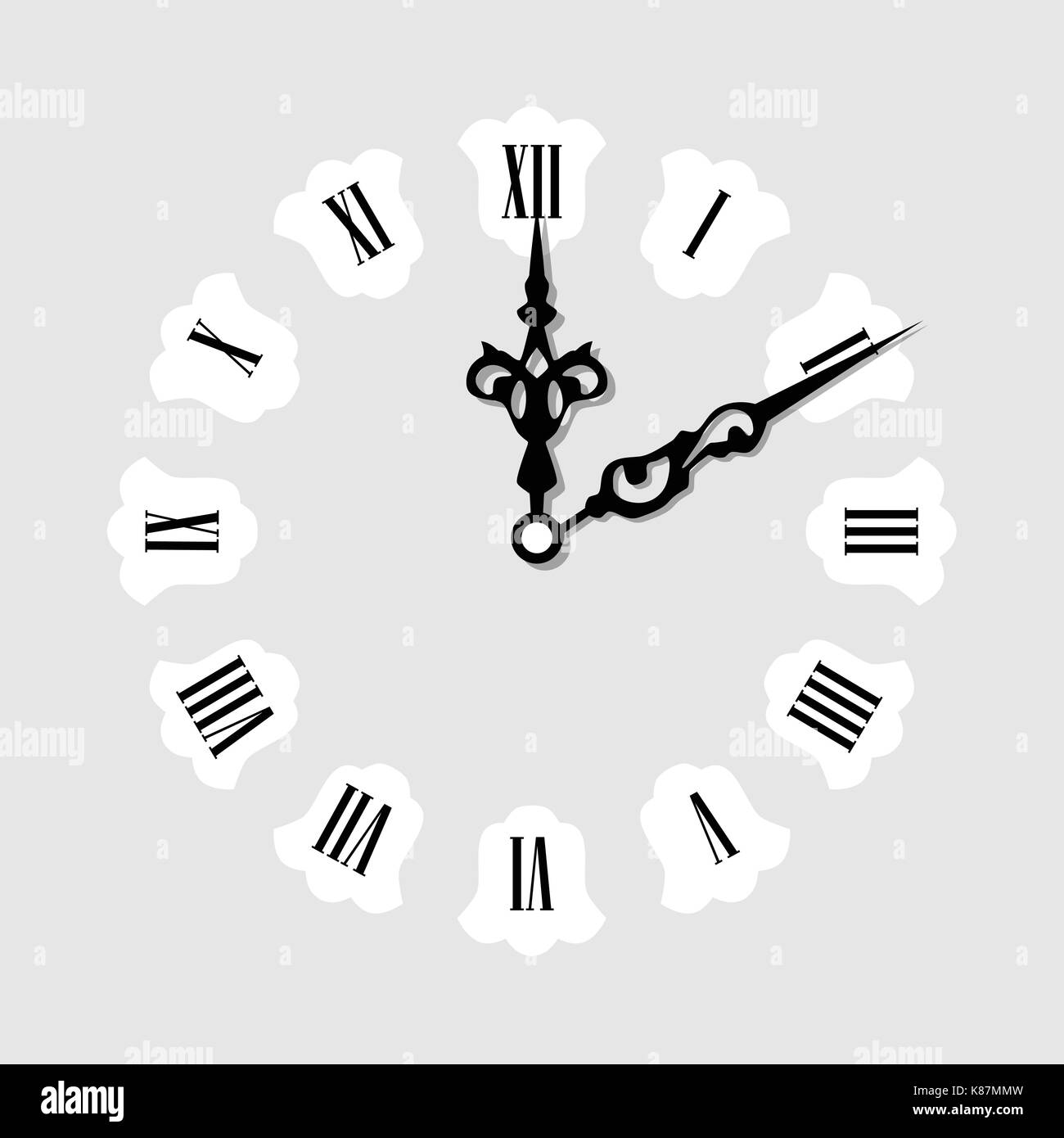 Vector illustration elegant wall clock with vintage hour hand isolated on white background. Clock on wall shows eight o'clock. Roman numeral clock - Stock Image