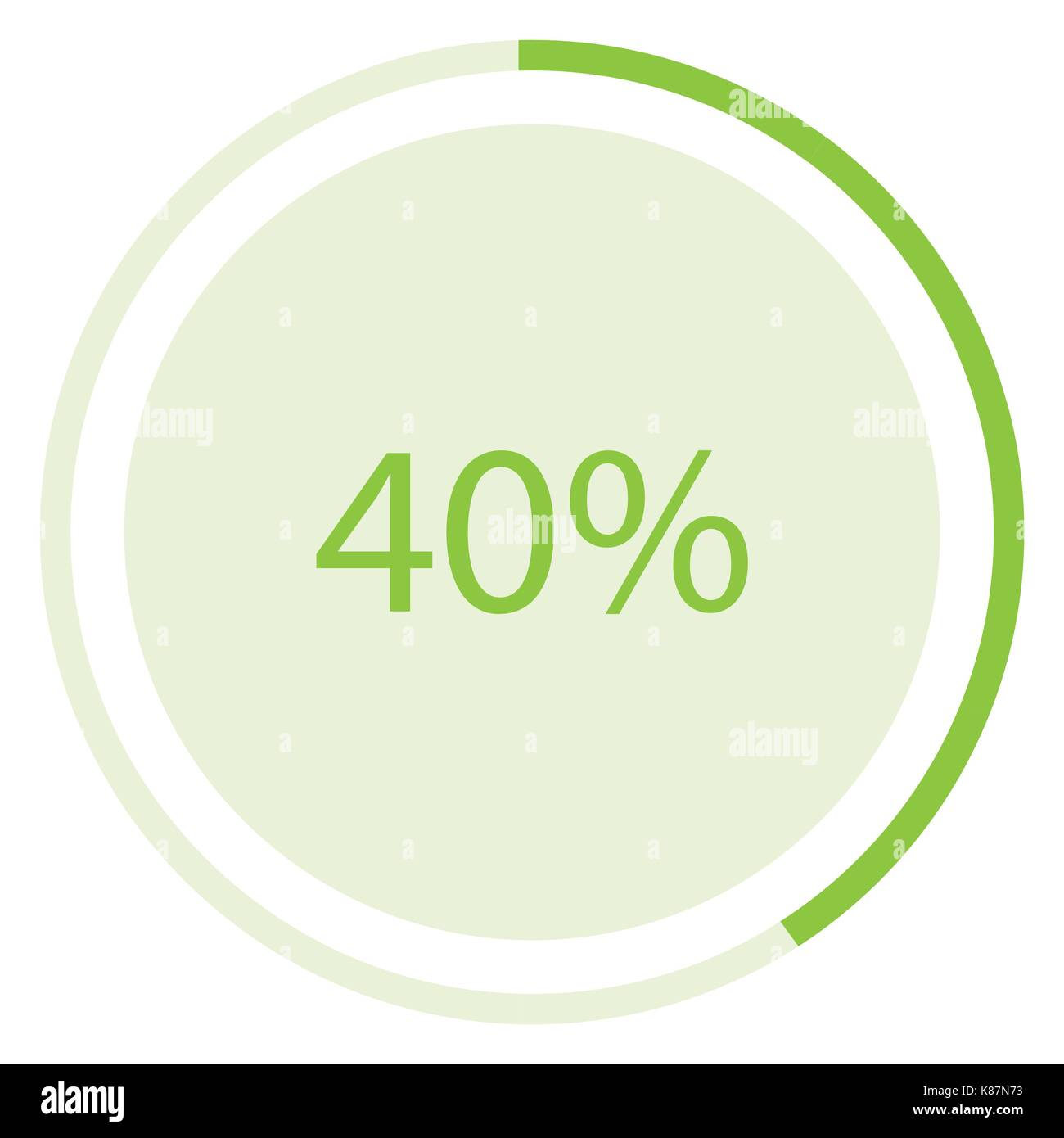 Vector illustration green round, circle pie graph, chart with Stock