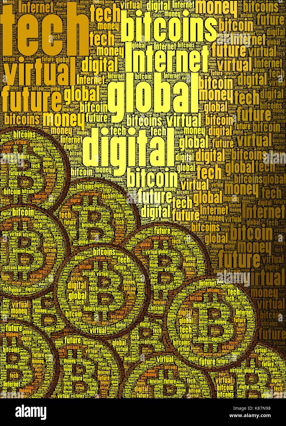 Bitcoin concept art made only using words about the subject, vertical. - Stock Image