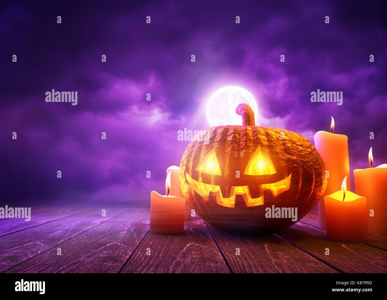 A glowing Pumpkin Jack-O-Lantern against purple sky background on Halloween, mixed media illustration. - Stock Image