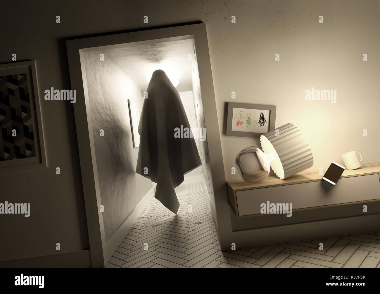 A creepy mysterious ghost spirit moving silently across a hallway inside a family home. 3D illustration concept. - Stock Image