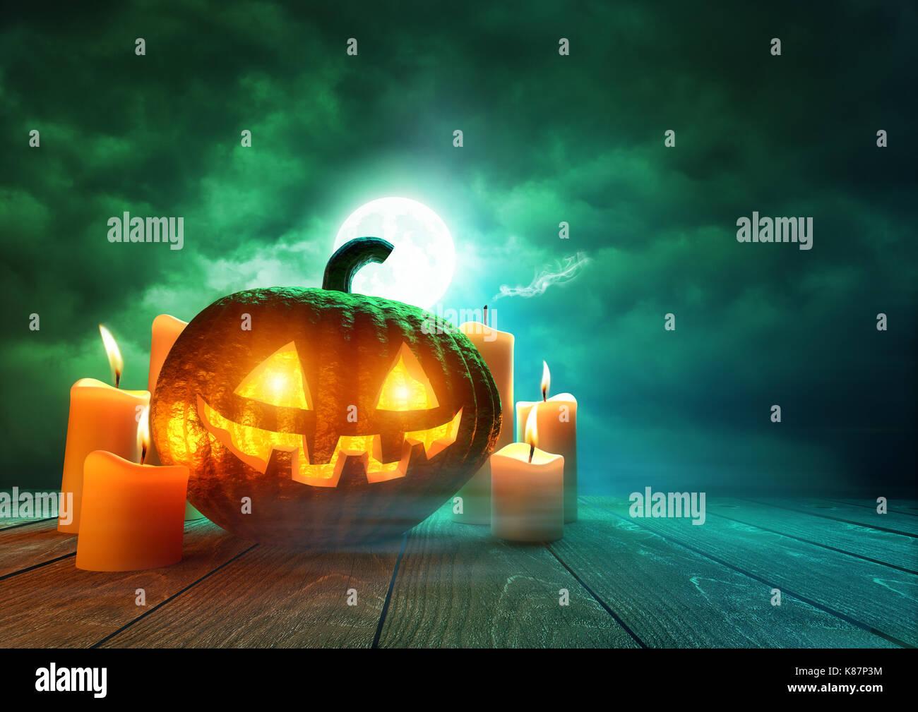A glowing Pumpkin Jack-O-Lantern lit by an eerie green moonlight on Halloween, mixed media illustration. - Stock Image
