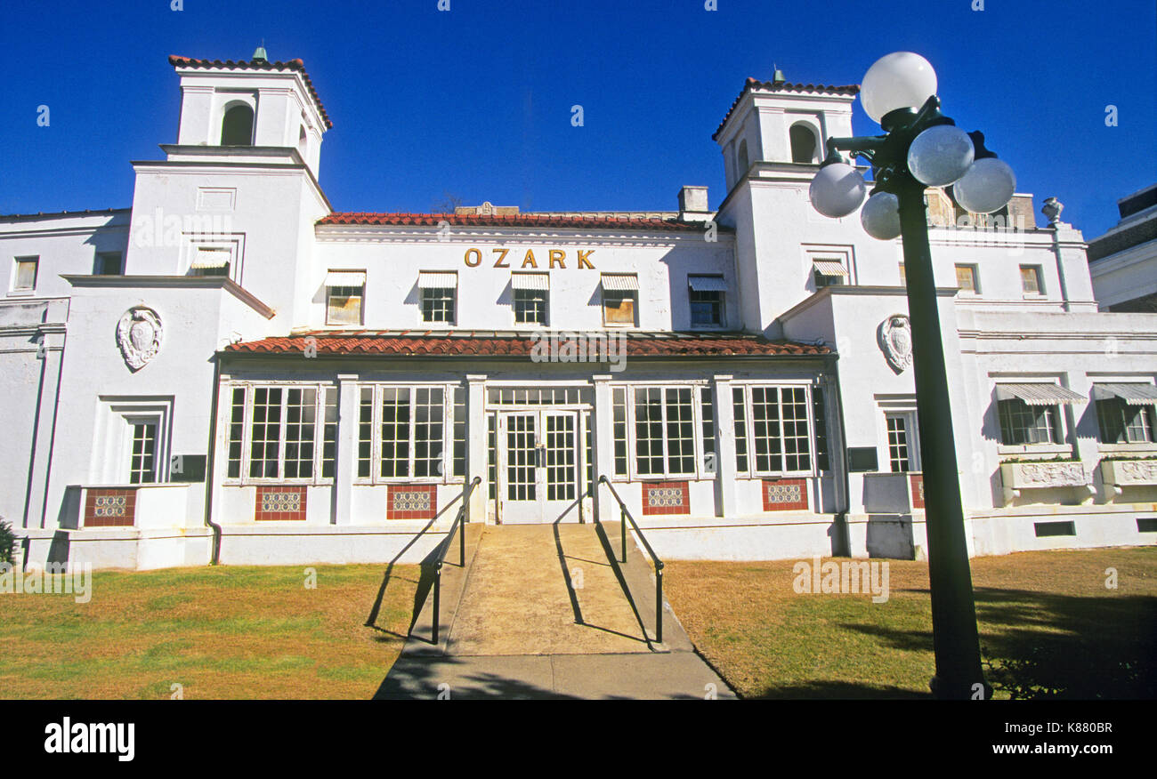 The old Ozark Bathhouse, one of the National Park Service owned bathhouses on Bath House Row in Hot Springs National Park, Hot Springs, Arkansas - Stock Image