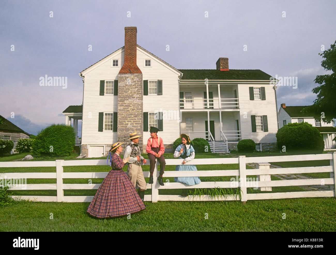 A family dressed in period, Civil War clothing, at Civil War era Bushong Farm on New Market  Battlefield State Park, New Market,Virginia - Stock Image