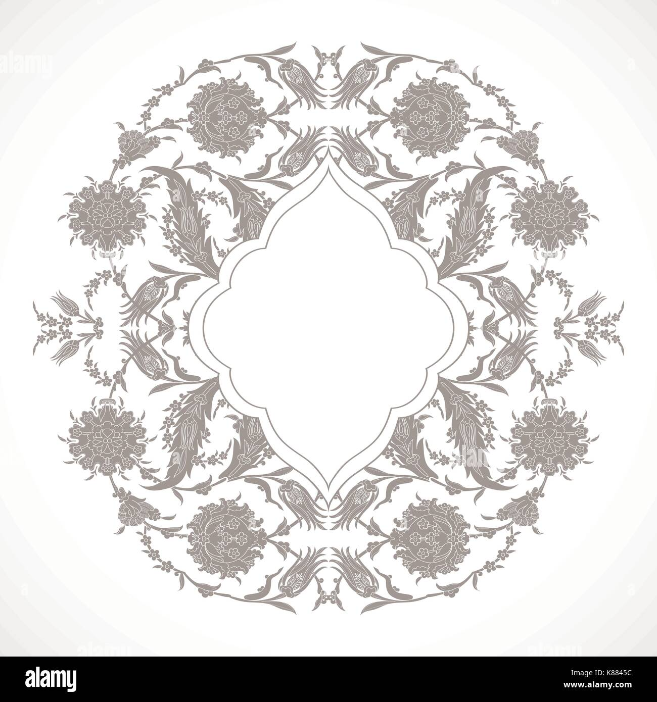 Arabesque Vintage Outline Decor Ornate Pattern For Design Template Vector Eastern Motif Floral Border Frame Round Lines Flowers Save The Date