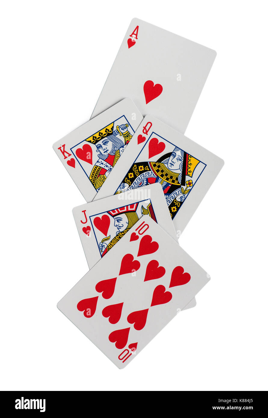 Combination of playing cards poker casino. Isolated on white background - Stock Image