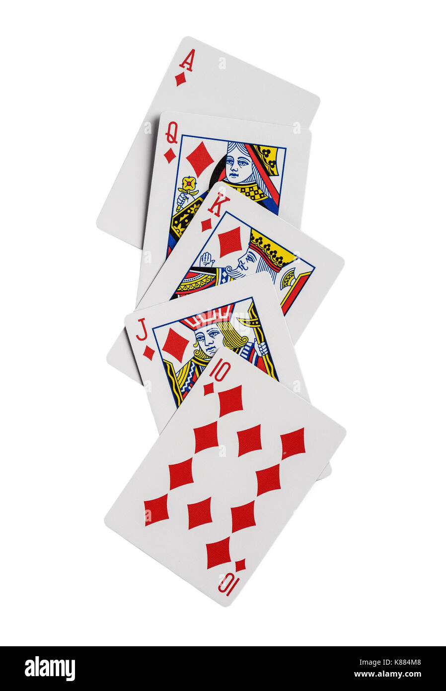 Combination of playing cards diamonds suit poker casino. Isolated on white background - Stock Image