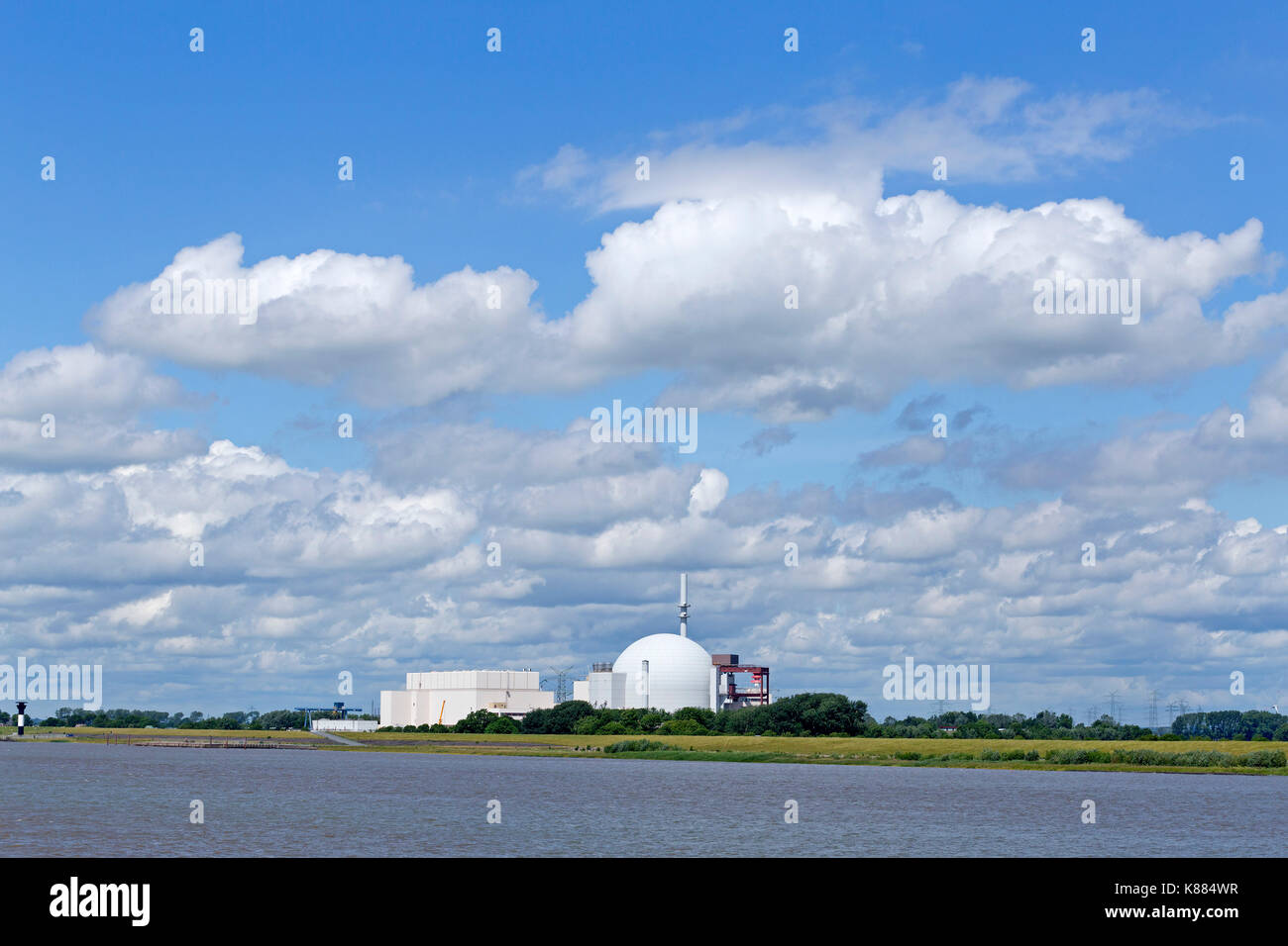 atomic power station Brokdorf, River Elbe, Schleswig-Holstein, Germany - Stock Image