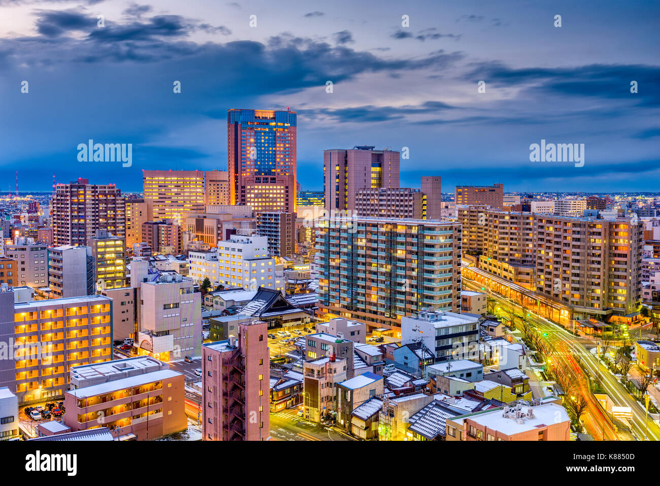 Kanazawa, Japan skyline at dusk. - Stock Image