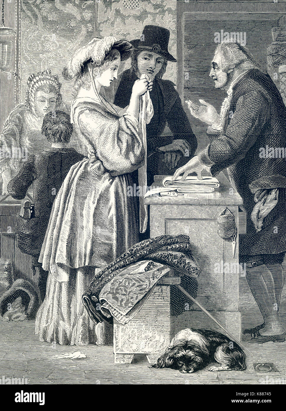 This engraving on wood accompanied an 1881 book on British Painters. The one is titled 'Choosing a Wedding Gown' and is credited to William Mulready (1786-1863), an Irish painter living in London. Mulready was known for his works that romanticized rural scenes. His paintings were popular in Victorian times. - Stock Image