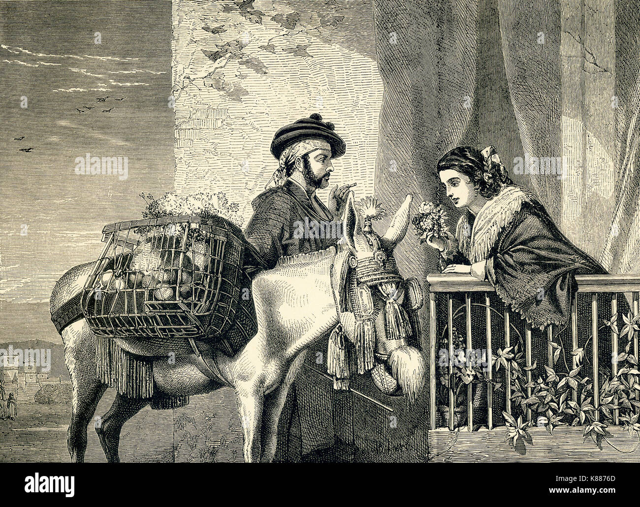 This engraving on wood accompanied an 1881 book on British Painters. This one is titled 'Spanish Flower Seller,' by Richard Ansdell (1815-1885), an English painter of animals and genre scenes. - Stock Image