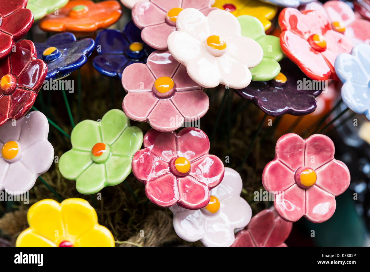 Traditional Hungarian Ceramic Flowers To Decorate The Interior Of