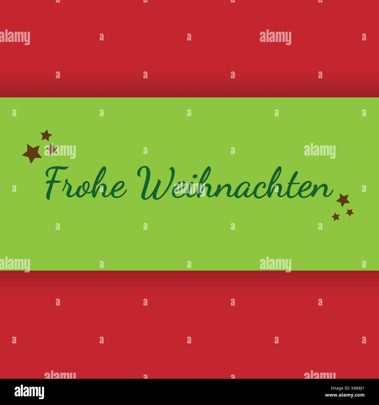 Red Christmas Card With The German Words Merry Christmas Stock
