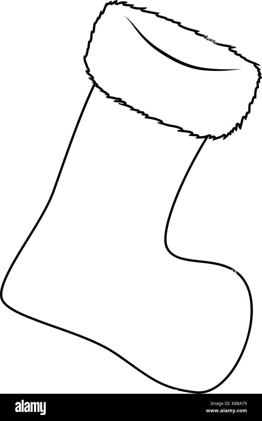 Black And White Christmas Stockings.Christmas Stocking Sock Vector Silhouette Symbol Icon Design