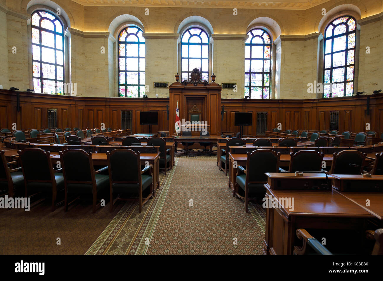 Interior of the City Hall council chamber in Montreal Canada - Stock Image