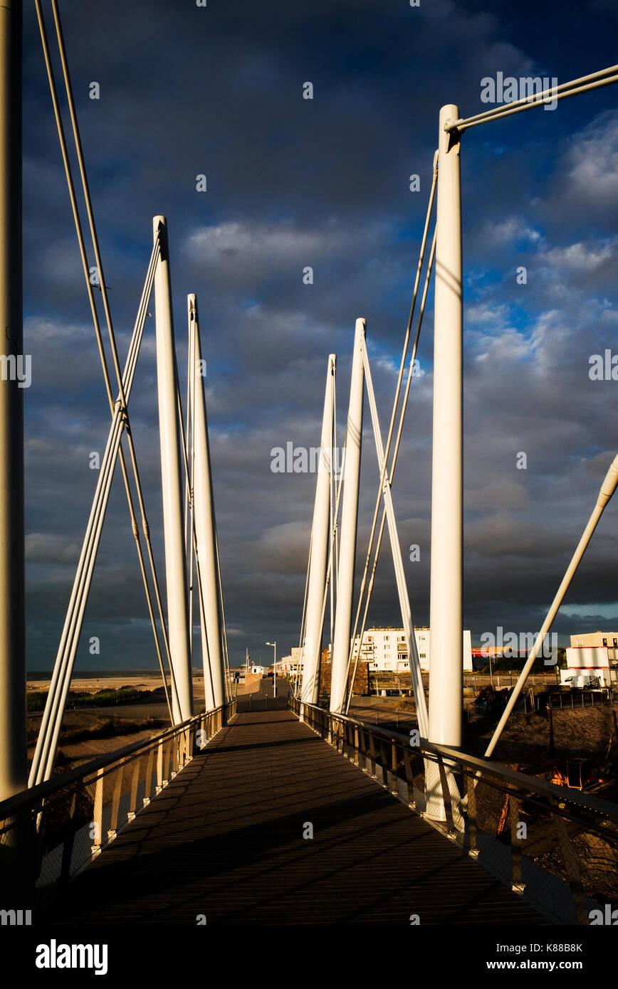 Dunkirk harbour bridge France coast - Stock Image