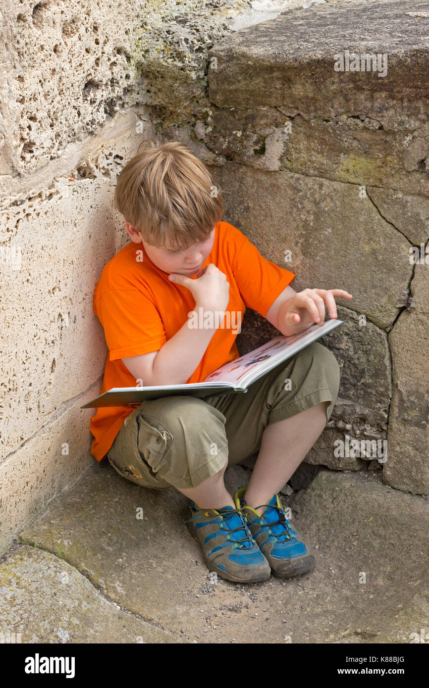 young boy reading a book - Stock Image