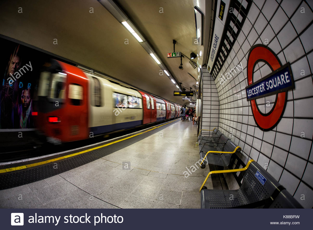 Northern Line Train Leaving Leicester Square Station, London - Stock Image