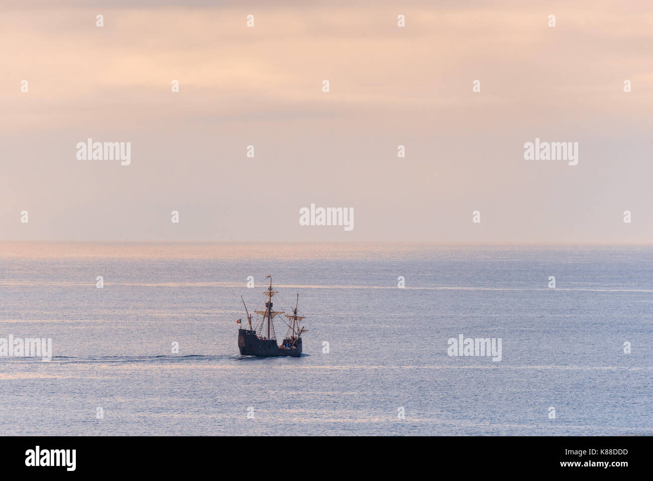 replica of an old caravel on the shores of the island of Madeira - Stock Image