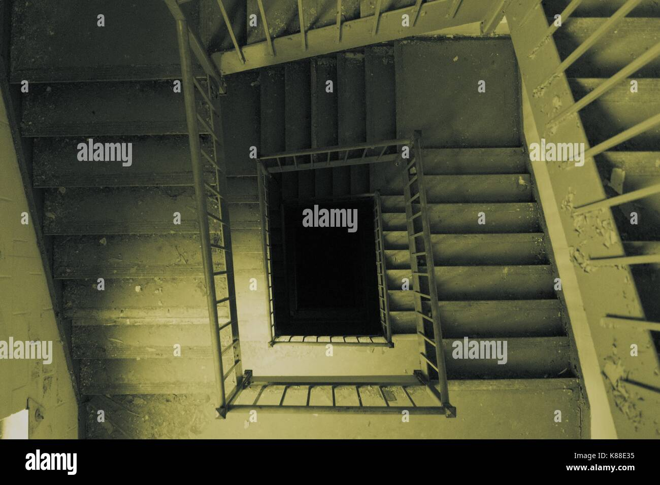 Stairs Descending into Darkness - Stock Image