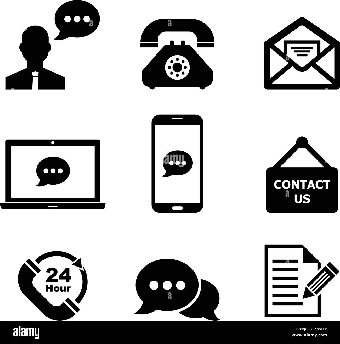 Contact us icon set - Stock Vector