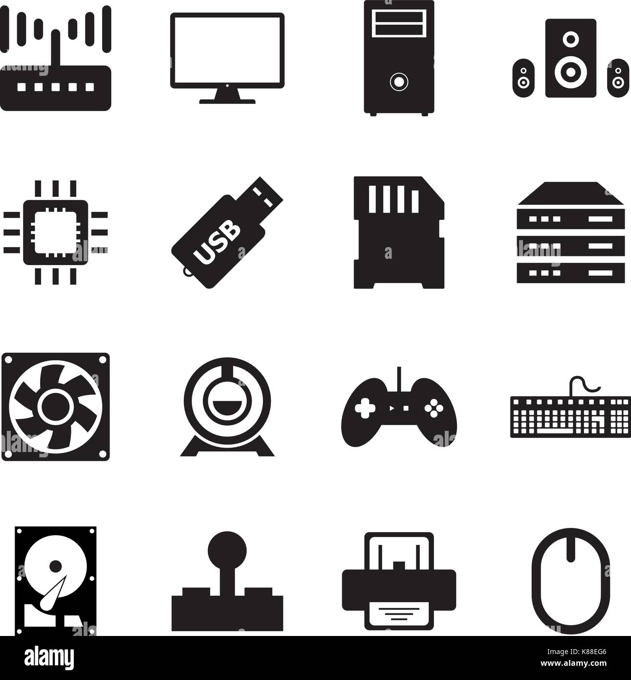 Computer hardware icon - Stock Image