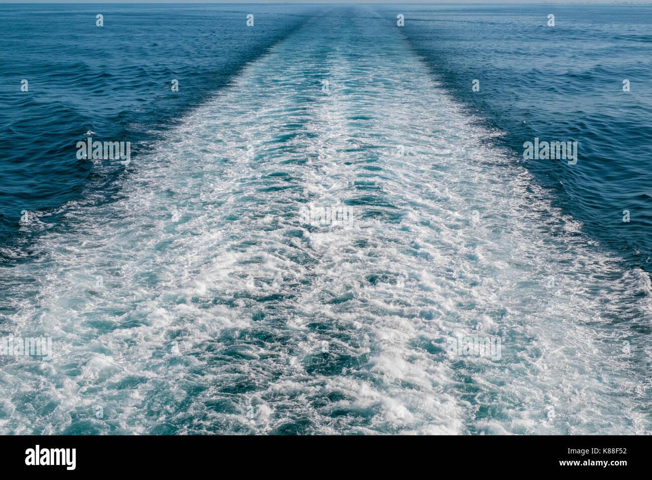 Wake in the Tyrrhenian Sea made by cruise ship - Stock Image