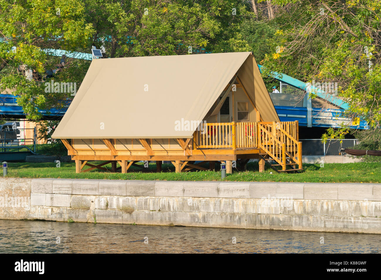 Montreal, CA - 17 September 2017: The Village by the locks in the Old Port of Montreal is a new lodging experience combining urban camping and boating - Stock Image