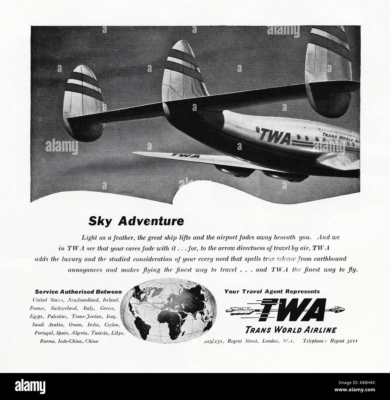 1940s Old Vintage Original Advert Advertising TWA Trans World Airline In Magazine Circa 1947 When Supplies