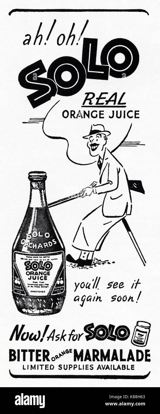 1940s old vintage original advert advertising Solo orange juice & marmalade in magazine circa 1947 when supplies were still restricted under post-war rationing - Stock Image