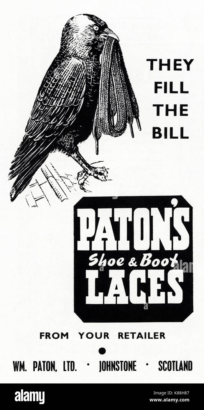 1940s old vintage original advert advertising Paton's shoe & boot laces of Johnstone, Scotland, UK in magazine circa 1947 when supplies were still restricted under post-war rationing - Stock Image
