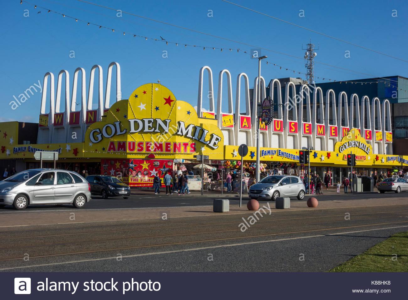 Golden Mile Amusement arcade on the sea front at Blackpool, Lancashire, England, UK - Stock Image