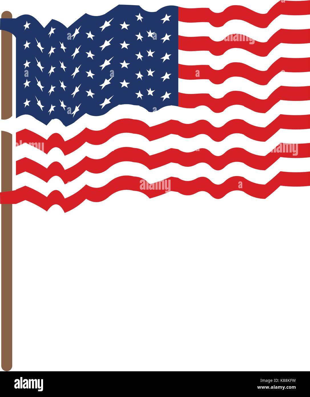 flag united states of america waving in flagpole and colorful silhouette without contour - Stock Image
