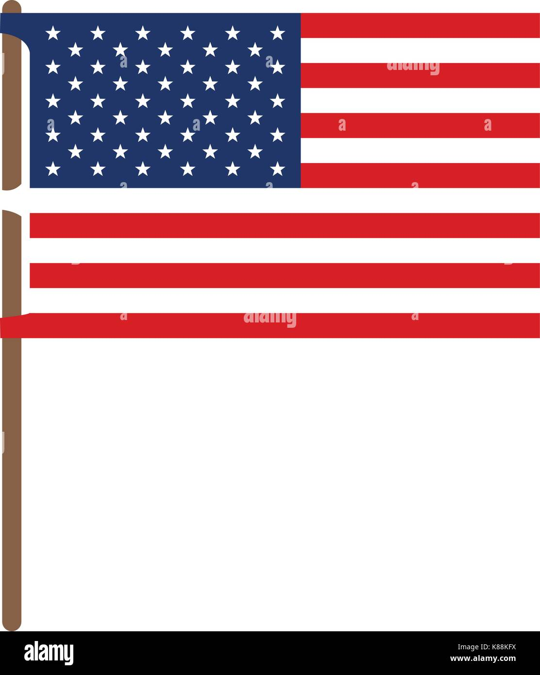 flag united states of america in flagpole and colorful silhouette without contour - Stock Image