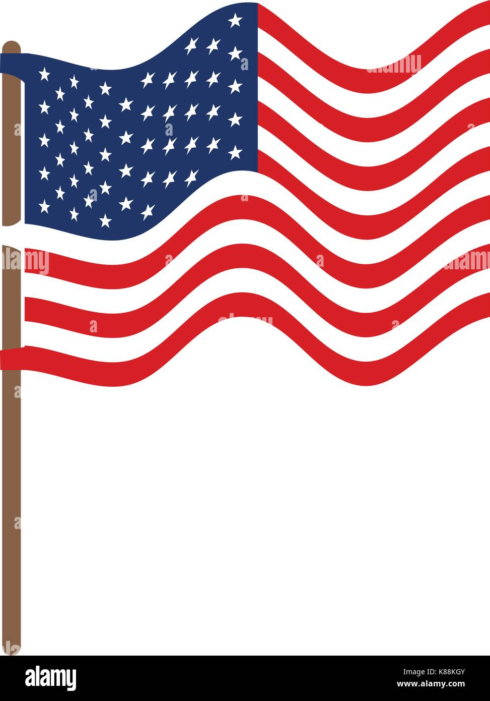 flag united states of america in flagpole waving and colorful silhouette without contour - Stock Image
