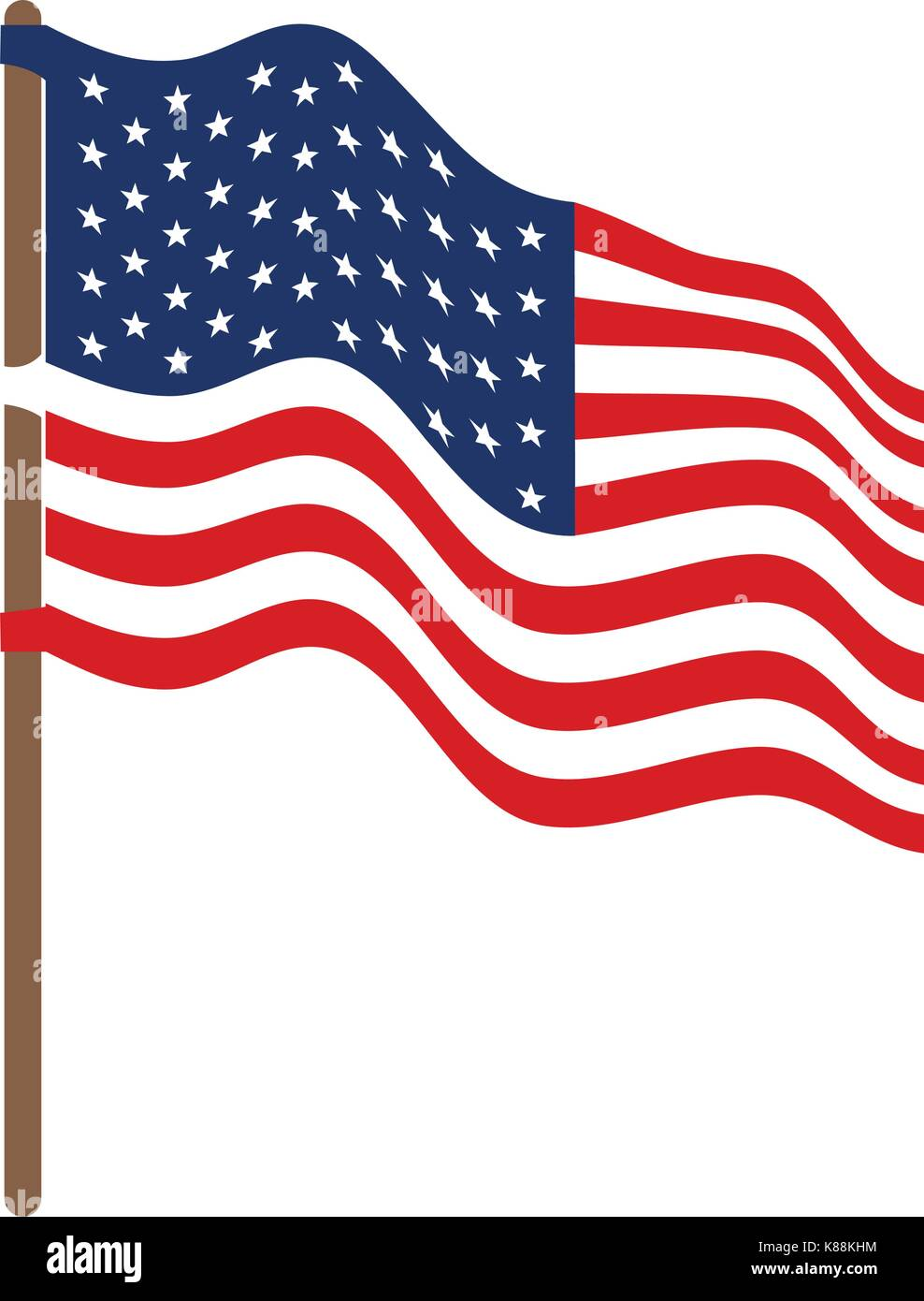 flag united states of america in flagpole waving side and colorful silhouette without contour - Stock Image
