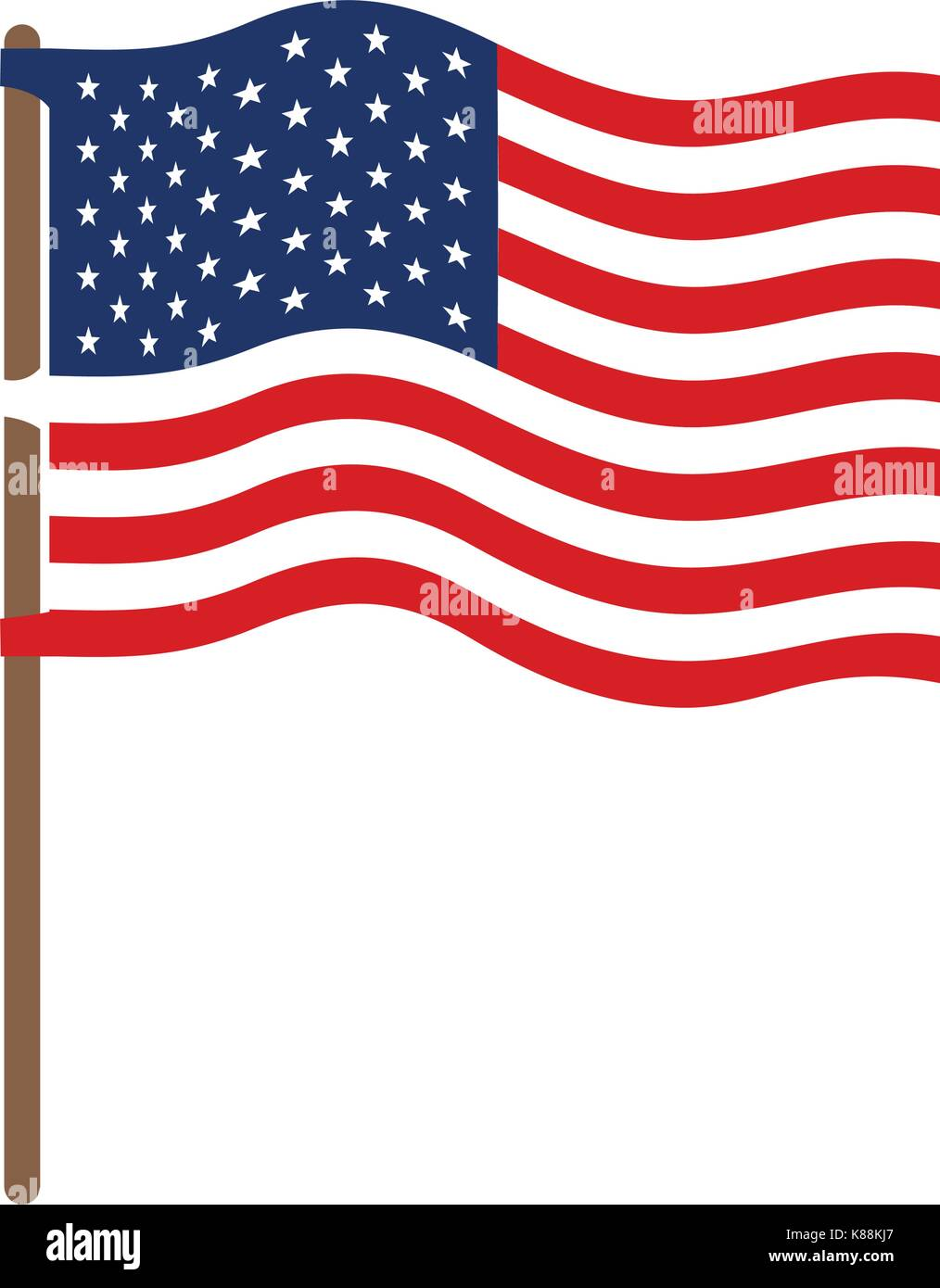 flag united states of america in flagpole wave and colorful silhouette without contour - Stock Image