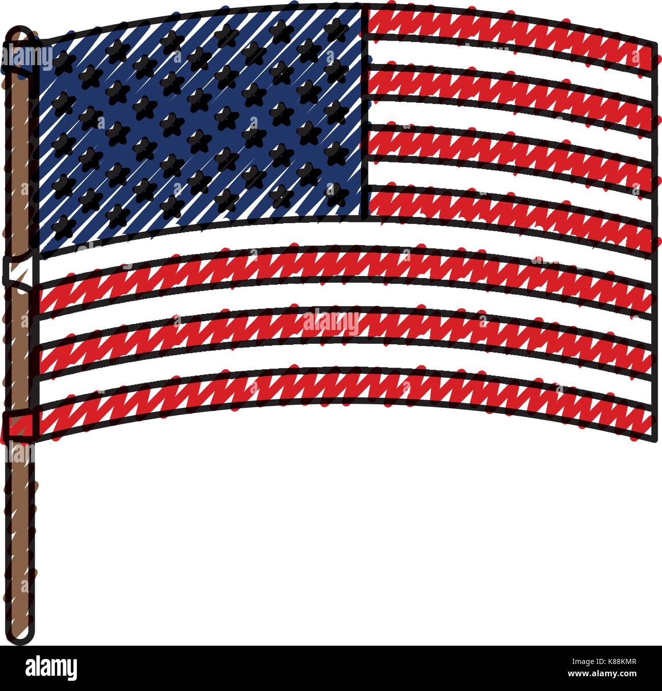 flag united states of america in flagpole waving colored crayon silhouette - Stock Image