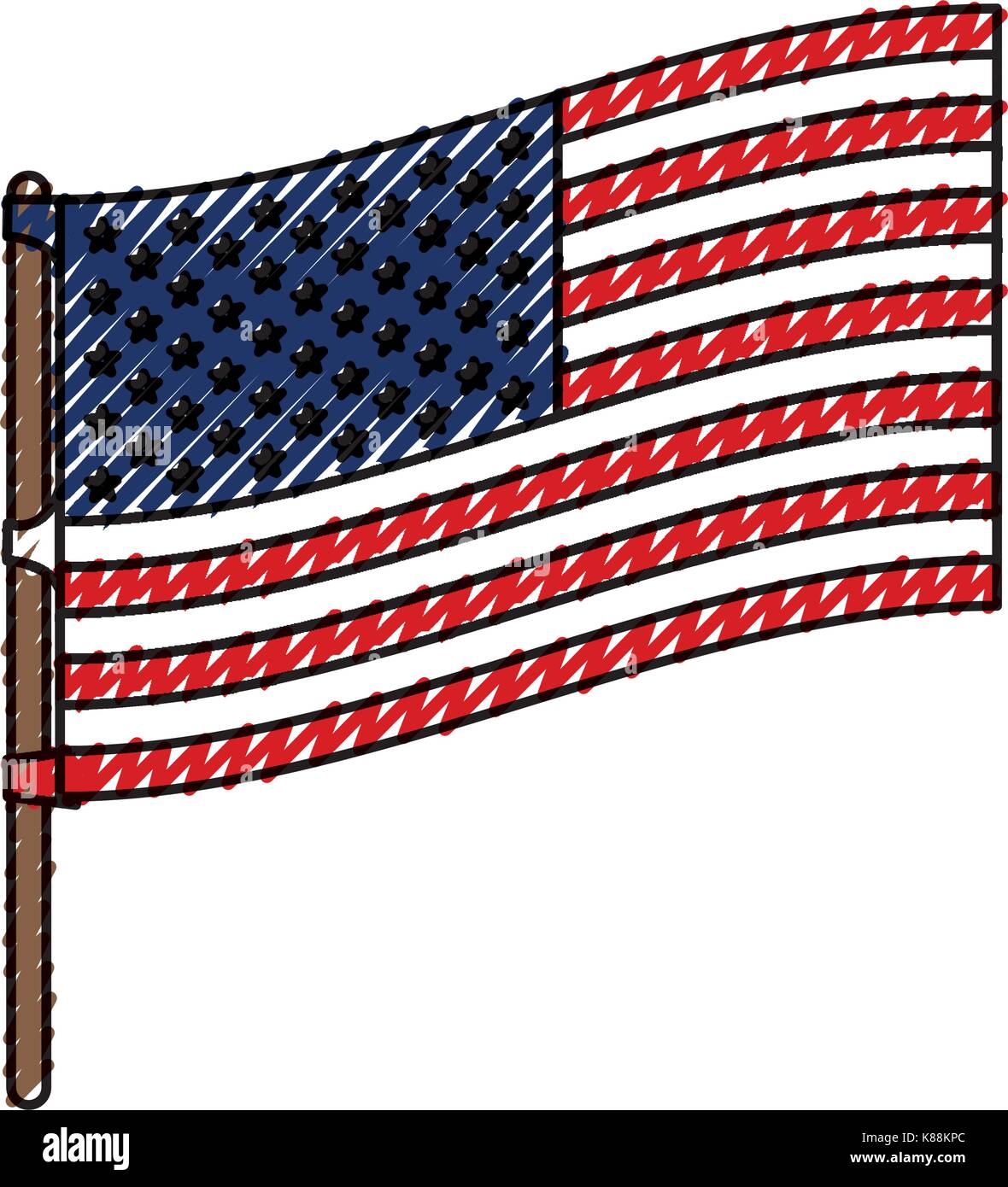 flag united states of america in flagpole to side in colored crayon silhouette - Stock Image