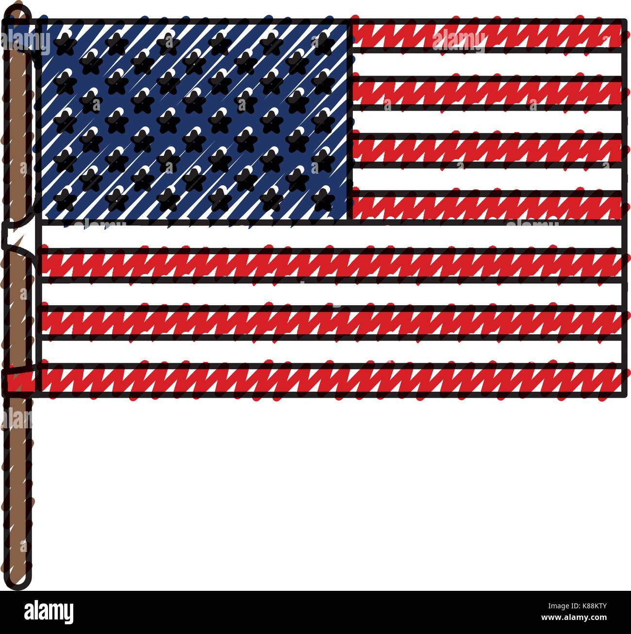 flag united states of america in flagpole and colored crayon silhouette - Stock Image