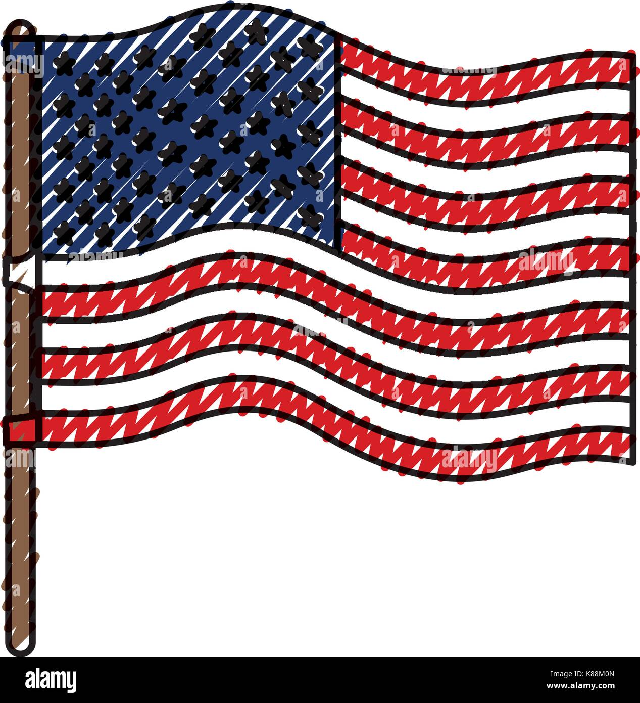 flag united states of america in flagpole wave and colored crayon silhouette - Stock Image