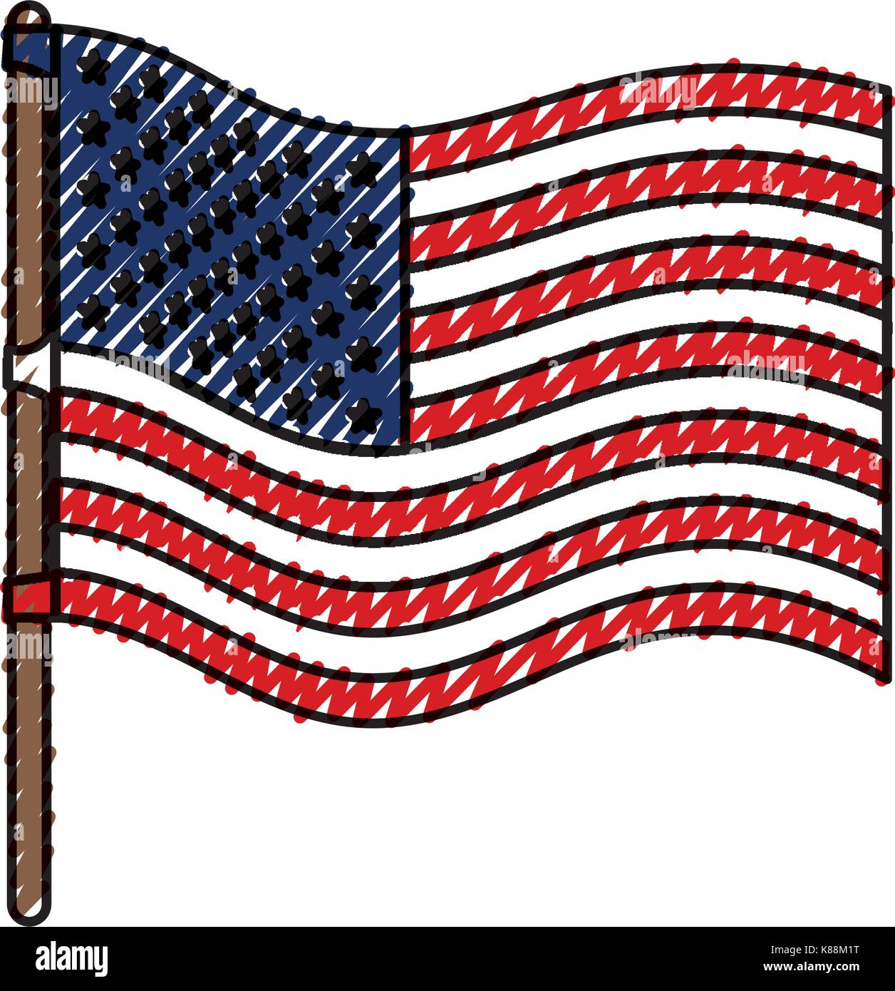 flag united states of america wave in flagpole and colored crayon silhouette - Stock Image