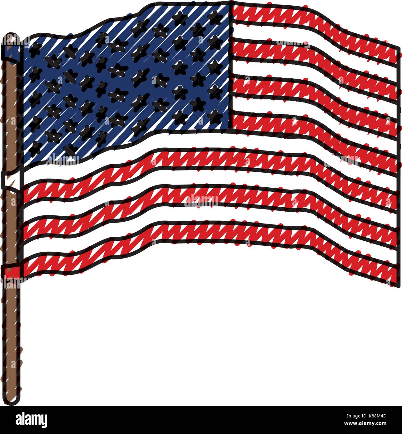 flag united states of america waving in flagpole and colored crayon silhouette - Stock Image