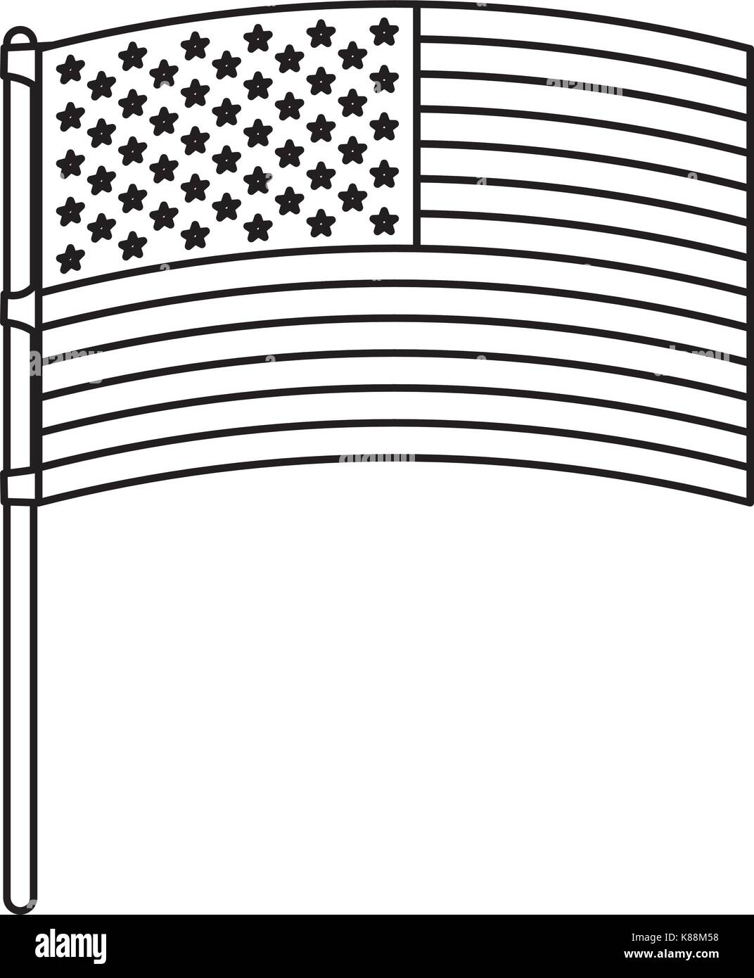 flag united states of america in flagpole waving monochrome silhouette - Stock Image