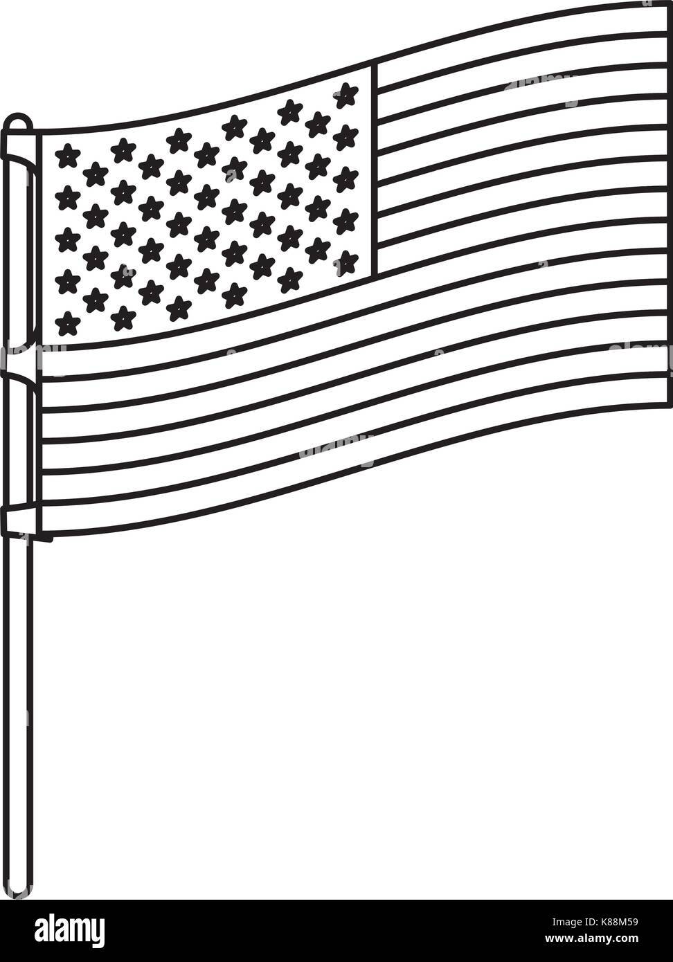 flag united states of america in flagpole to side in monochrome silhouette - Stock Image