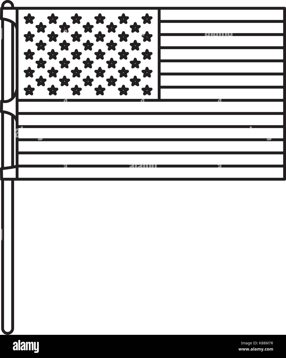 flag united states of america in flagpole and monochrome silhouette - Stock Vector