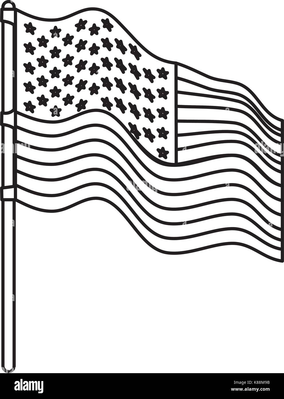 flag united states of america in flagpole waving side monochrome silhouette - Stock Image