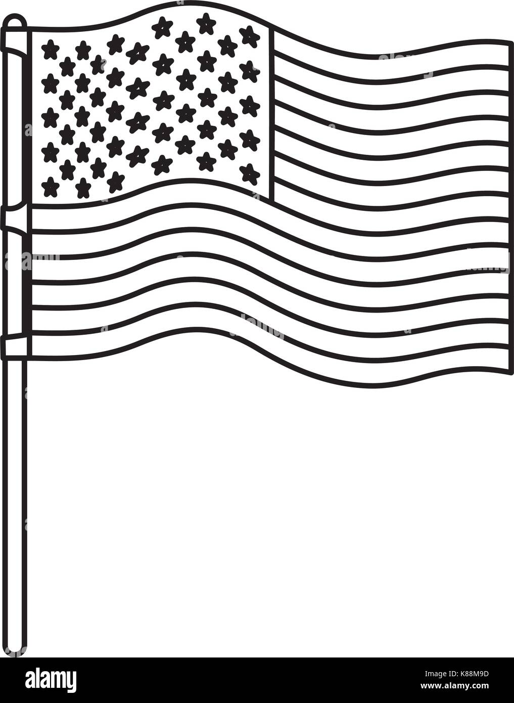 flag united states of america in flagpole wave monochrome silhouette - Stock Vector