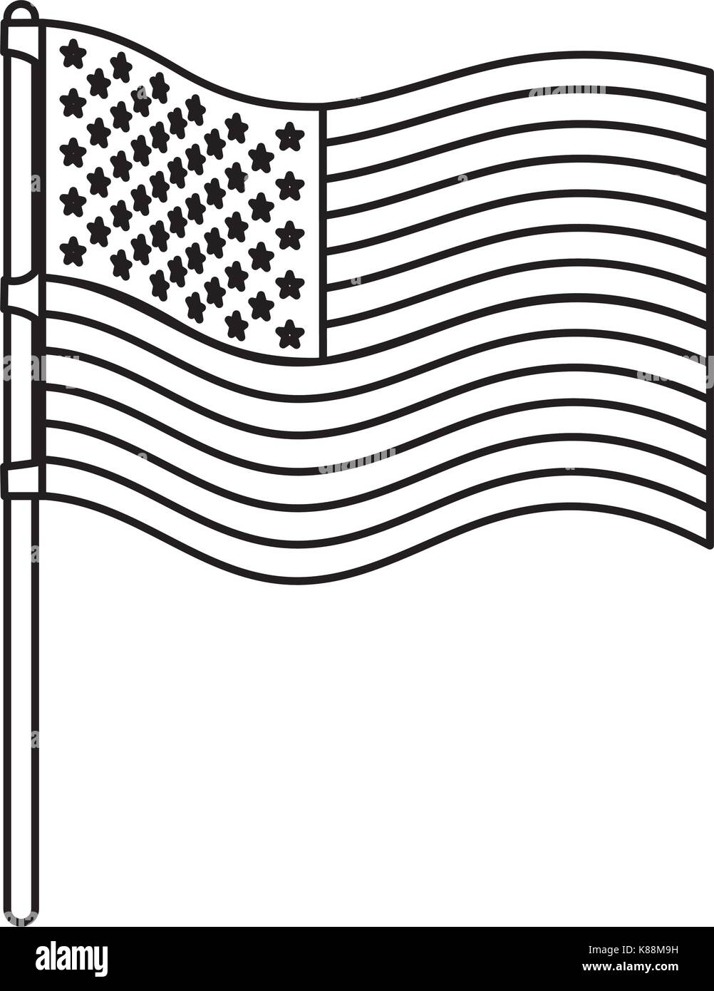 flag united states of america wave in flagpole and monochrome silhouette - Stock Vector