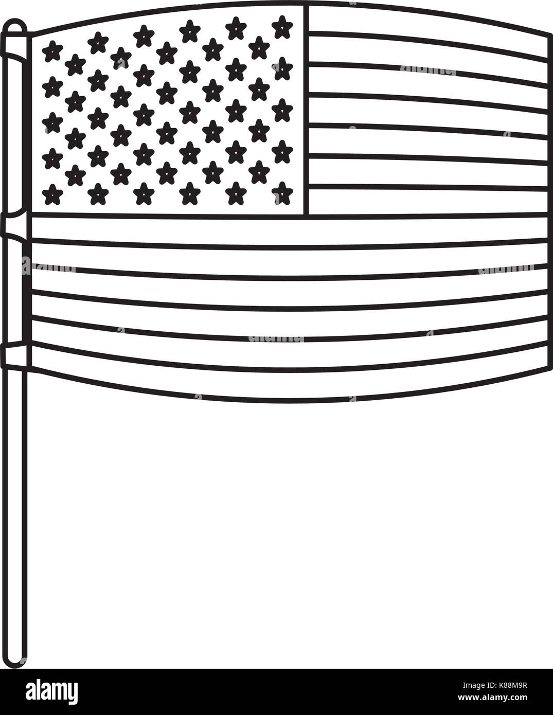flag united states of america wave out design in flagpole and monochrome silhouette - Stock Image